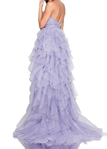 Ballkleider Abschlussballkleider Lilac Partykleider Damen Abiballkleider Abendkleider Lang Spaghetti Traeger Champagner Charmant Tuell YpBaf8q