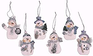 Resin Blue Snowman Christmas Ornaments (Pack of 12)