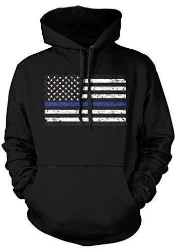 Amdesco Men's Thin Blue Line American Flag Hooded Sweatshirt