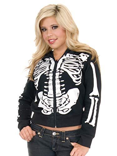 Charades Women's Skeleton Hoodie, Black/White, Medium -