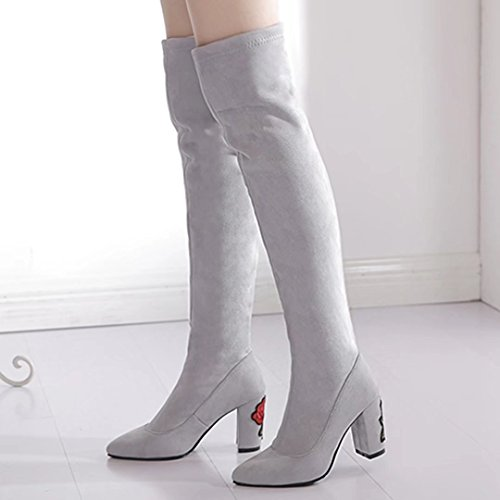 Heel Knee Toe on Womens suede Pointed Over Boots The Block Gray Stretch Embroidered AIYOUMEI With Slip wvXUxq