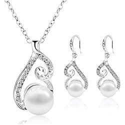 Morenitor Jewelry Set Gold Plated Faux Pearl Pendant Necklace Dangle Earring Stud Set Gifts for Women