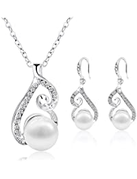 Jewelry Set Gold Plated Faux Pearl Pendant Necklace...