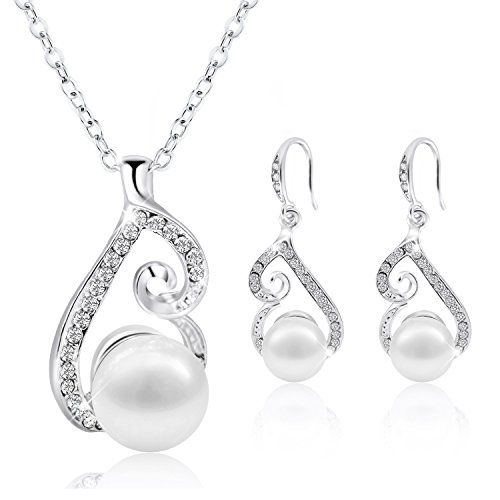 (Morenitor Jewelry Set Gold Plated Faux Pearl Pendant Necklace Dangle Earring Stud Set Gifts for)