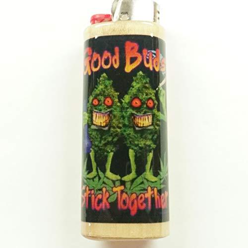 Good Buds Stick Together Lighter Case Holder Sleeve Cover Pot Weed Marijuana Ganja Fits Bic Lighters