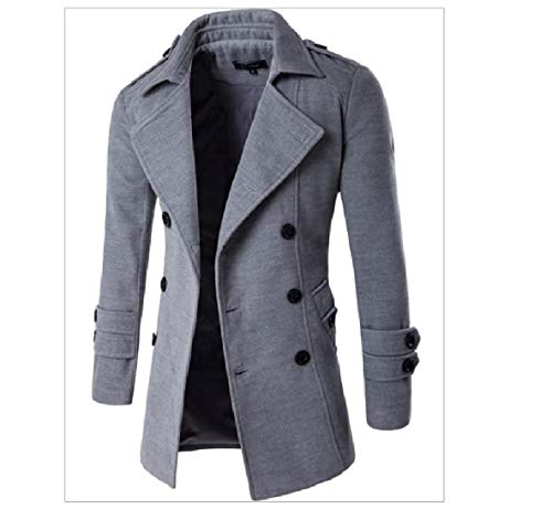 Grey Solid Mens Notch Light XINHEO Jacket Coat Breasted Lapel Double Woolen vqHdwXxdE