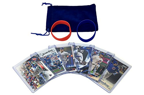 Chicago Cubs Baseball Cards: Kris Bryant, Anthony Rizzo, Javier Baez, Kyle Schwarber, Albert Almora Jr, Jon Lester ASSORTED CHI Trading Card and Wristbands Bundle