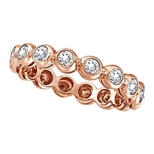 (Bezel-Set Diamond Eternity Ring Band 14k Rose Gold (1.00ct))