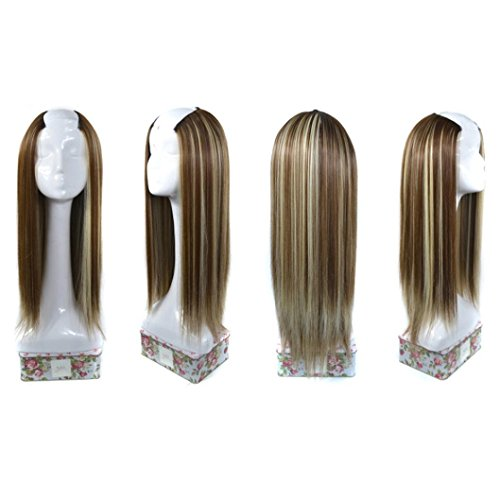 Synthetic Hair Wig,by Vibola 1Pcs Women Straight Weft Synthetic Hair U Part Lace Wig Lifelike Human Hair (A)