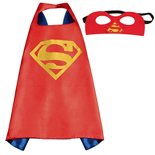 Whoopgifts Superhero Cape and Mask Set Kids, Adult Halloween Costume, Superman 140CM x 90CM