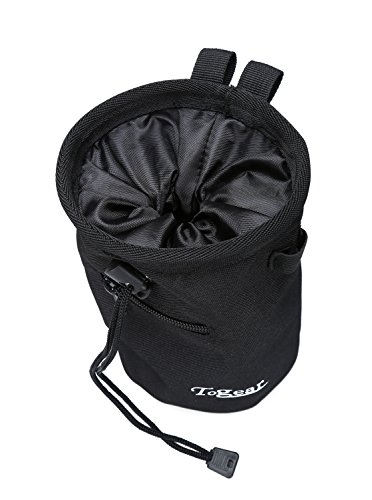 Rock Climbing Chalk Bag w/ Drawstring Closure, Belt and Zipper Pocket