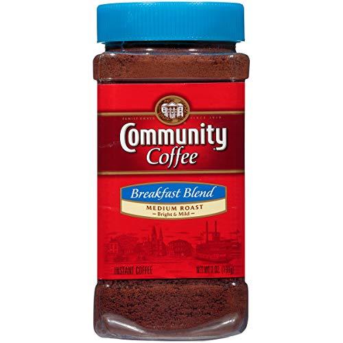 Community Coffee Breakfast Blend Medium Roast Premium Instant 7 Oz Jar (4 Pack), Medium Full Body Smooth Bright Taste, 100% Select Arabica Coffee Beans