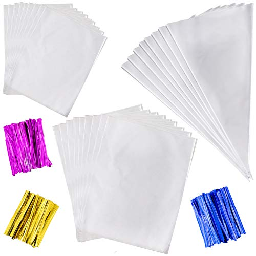 290 Cellophane Bags for Basket with 300 4 Inch Twist Ties 3 Mix Colors, Treat Bags, 250 OPP Plastic Bags 4 x 6 Inch, 20 OPP Plastic Bags 6 x 8 Inch, 20 Triangle Plastic Bags 6.3 x 11.8 Inch (Mix Bag 250ct)