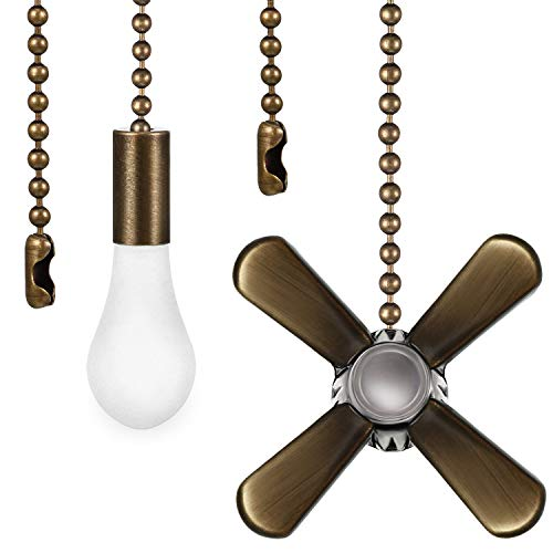 2 Pieces Metal Fan and Light Bulb Shaped Pull Chain