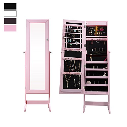 Cloud Mountain Mirrored Jewelry Cabinet Free-Standing Lockable Jewelry Armoire Full Length Floor Tilting Jewelry Organizer with Mirror and LED Light 4 Angle Adjustable Organizer Storage, Pink (Light Jewelry)