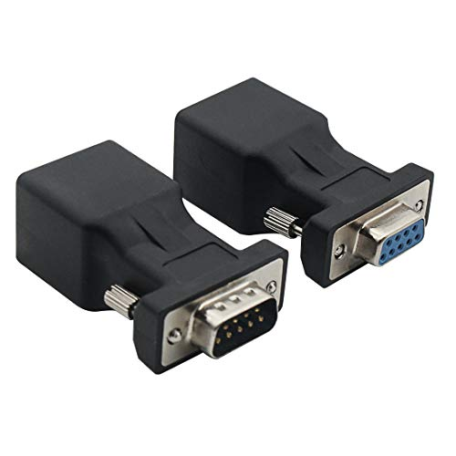 VGA Extender Converter Adapter Cat5/Cat6/RJ45, DB9 9-Pin VGA 9 Pin Male to RJ45 Female Network CableConnector 2Pack by YIOVVOM