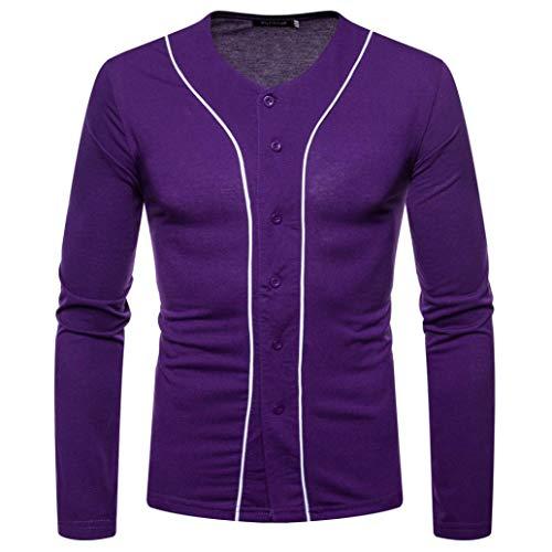 - kaifongfu Top Men,Solid Color Panel Long Sleeve Button V-Neck Shirt Men Autum Winter Blouse(Navy,M)