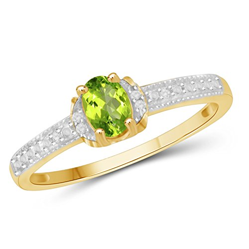 Peridot Genuine Stone Ring (Jewelexcess 0.50 CTW Genuine Peridot Gemstone & 1/20 CTW White Diamond Ring in 14k Gold Over Silver)