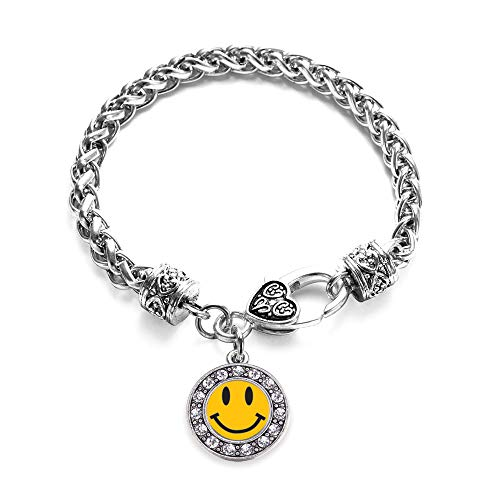 Inspired Silver - Smiley Face Braided Bracelet for Women - Silver Circle Charm Bracelet with Cubic Zirconia Jewelry