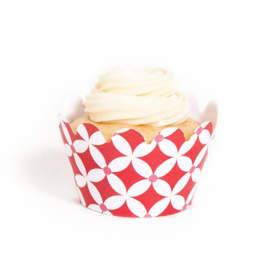 Dress My Cupcake Mini Red Diamonds Cupcake Wrappers, Set of 18 (Diamonds Cupcake Mini Wrappers)