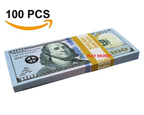 Real Hundred Dollar Bill (GoodOffer 100 Dollars Play Money - Realistic Prop Money 100 pcs. - Total of $10,000 Copy Money with Two Sides for Pranks, Games, Monopoly - Educational Play Money for Kids)
