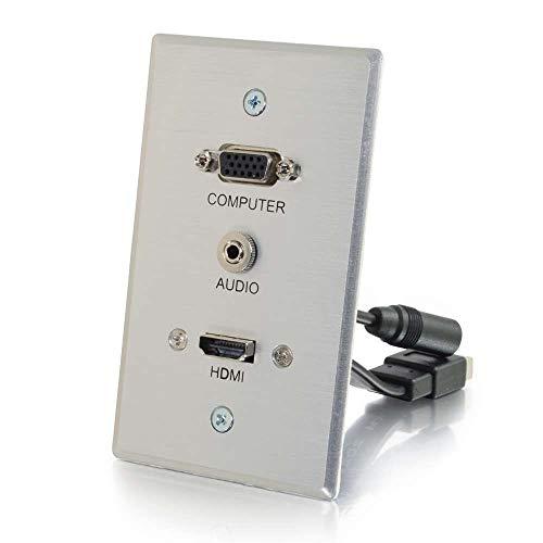 C2G 60144 HDMI, VGA, 3.5mm Stereo Pass Through Single Gang Wall Plate, Aluminum