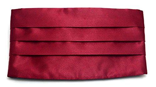 Simpowe Men's Solid Multi-color Silk Cumberbund (One Size, Burgundy)