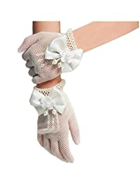 Flower Girls Gloves, Ivory Lace Net Voile Short Princess Bowknot Gloves for Wedding