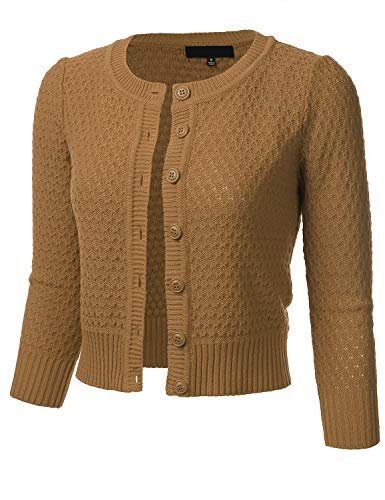(FLORIA Women's Button Down 3/4 Sleeve Crew Neck Cotton Knit Cropped Cardigan Sweater Camel)