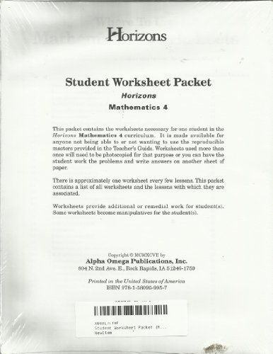 Student Worksheet Packet (Horizons Mathematics, 4) (Packet Worksheet Student)