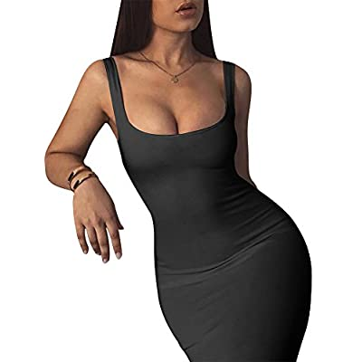 LAGSHIAN Women's Sexy Bodycon Tank Dress Sleeveless Basic Midi Club Dresses: Clothing