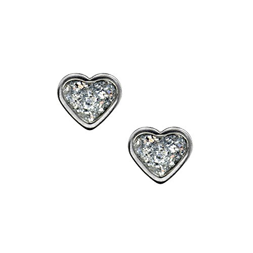 Studex Sensitive 6mm Heart with Clear Glitter Centre Stainless Steel Stud Earrings by Studex