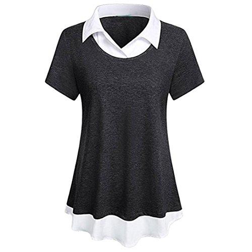 Sontefz Fashion Women Collar Neck Patchwork Short Sleeve Blouse Tops Contrast Collar Hem T Shirt (L, - T-shirts Designer Maternity