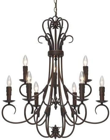 Golden Lighting 8606-CN9 RBZ Homestead Nine Light Candelabra Chandelier