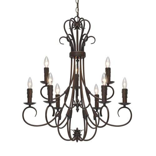 Golden Lighting 8606-CN9 RBZ Homestead Nine Light Candelabra Chandelier, Rubbed Bronze Finish