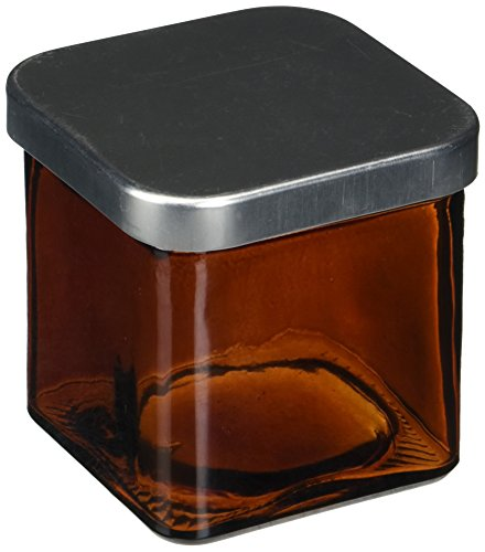 Couronne Company 7527G48-C Square Recycled Glass Candle Container, 8.5 oz, Dark Amber
