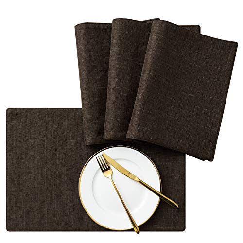 SyMax Table Placemats Linen Set of 4 Heat Resistant Table Mats Washable Fabric Table Runner for Dining Room,Kitchen(Coffee, ()