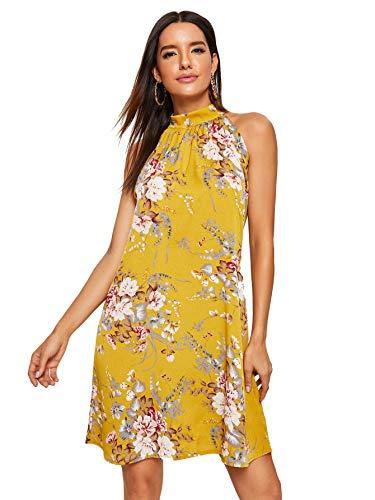 (Floerns Women's Floral Print Summer Chiffon Sleeveless Party Dress Yellow L )