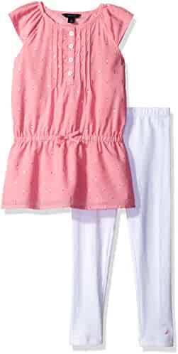 Nautica Girls' Metalic Detail Tunic with Legging Set