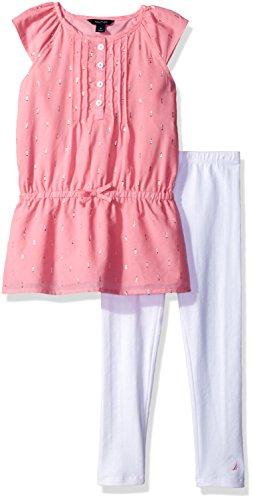 Nautica Big Girls' Metalic Detail Tunic with Legging Set, Light Pink, 12