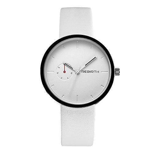 SMEETO Simple Quartz Watch Women Fashion Analog Decoration Dial Leather - White