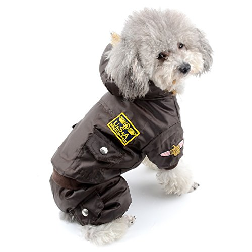 (SELMAI Waterproof Fleece Lined Dog Winter Coat Snow Suit Airman Hooded Jumpsuit Snowsuits for Small Dog Puppy Chihuahua Brown L)