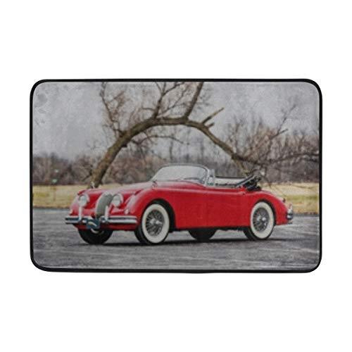 ANT88 Jaguar Xk150 Drophead 1961 Convertible Red Doormat Indoor Outdoor Entrance Floor Mat Bathroom 23.6 X 15.7 Inch ()
