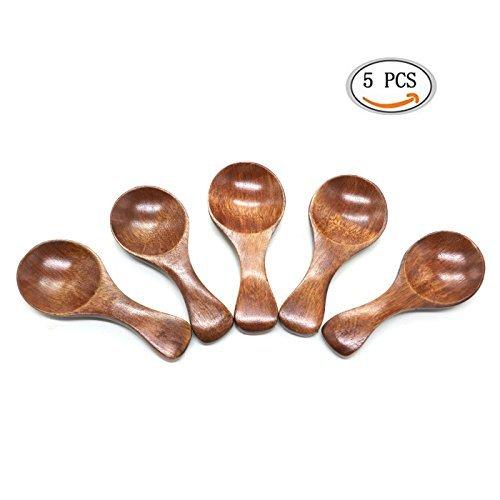 IDS Mini Wooden Salt Spoon, Small Wood Sugar Condiments Baby Spoons, 5 Pcs (Small Condiment Spoons)