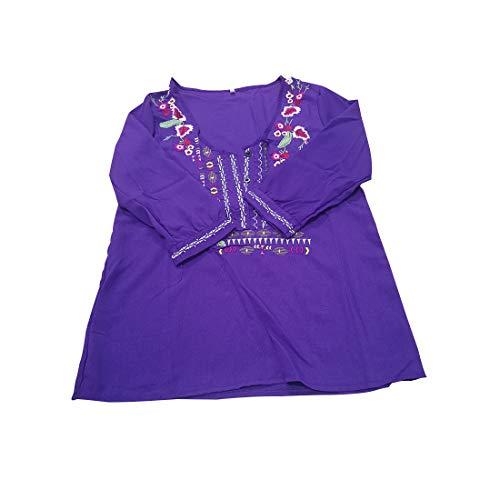 Womens Bohemian Shirt Embroidery Flower V-Neck 3/4 Sleeve Linen Tops Blouse Tee (XXL, -