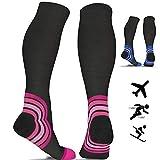 Compression Socks for Women & Men (20-30 mmHg) Best for Flight Travel - Running - Athletics - Nurses - Shin Splints - Pregnancy - Blood Circulation - Skiing - Pink S/M