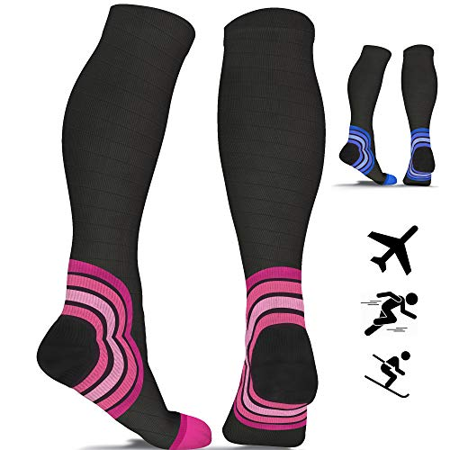 Compression Socks for Women & Men - 20-30 mmHg - Best Flight Compression Socks for Travel - DVT - Sports - Running - Skiing - Athletics - Nurses - Shin Splints - Pregnancy - Blood Circulation (Pair)