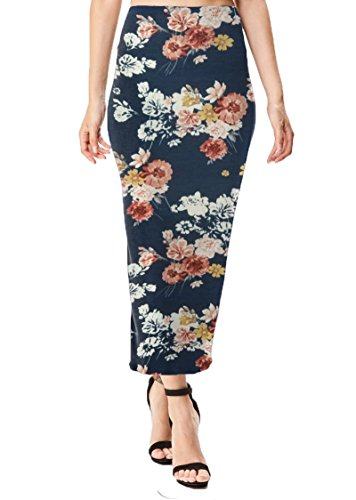 Women's Midi Long Stretchy Bodycon Pencil Skirt, Large, Navy Floral Print Cotton Blend