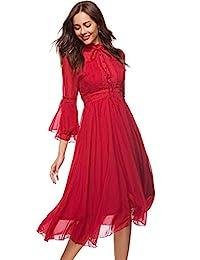 Ababalaya - Vestido de mujer elegante de gasa con cuello alto y manga larga