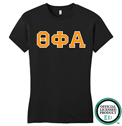 THETA PHI ALPHA | Orange Letters - Licensed Fitted Ladies' T-shirt-Ladies,